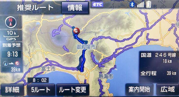 三島から山中湖までの距離