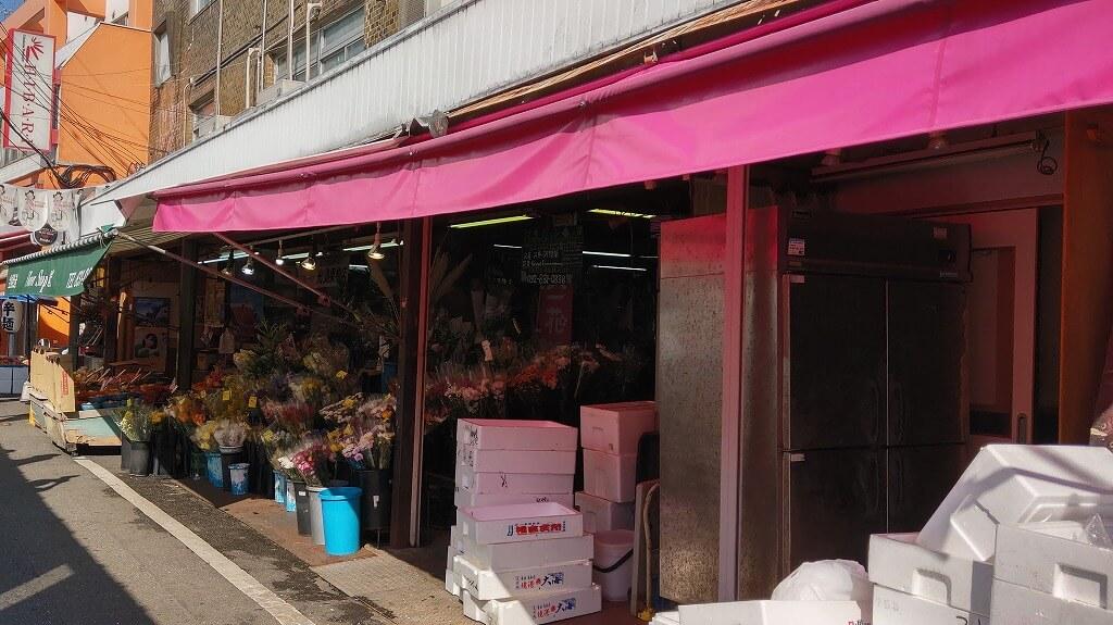 福岡西新の商店街 お花屋さん