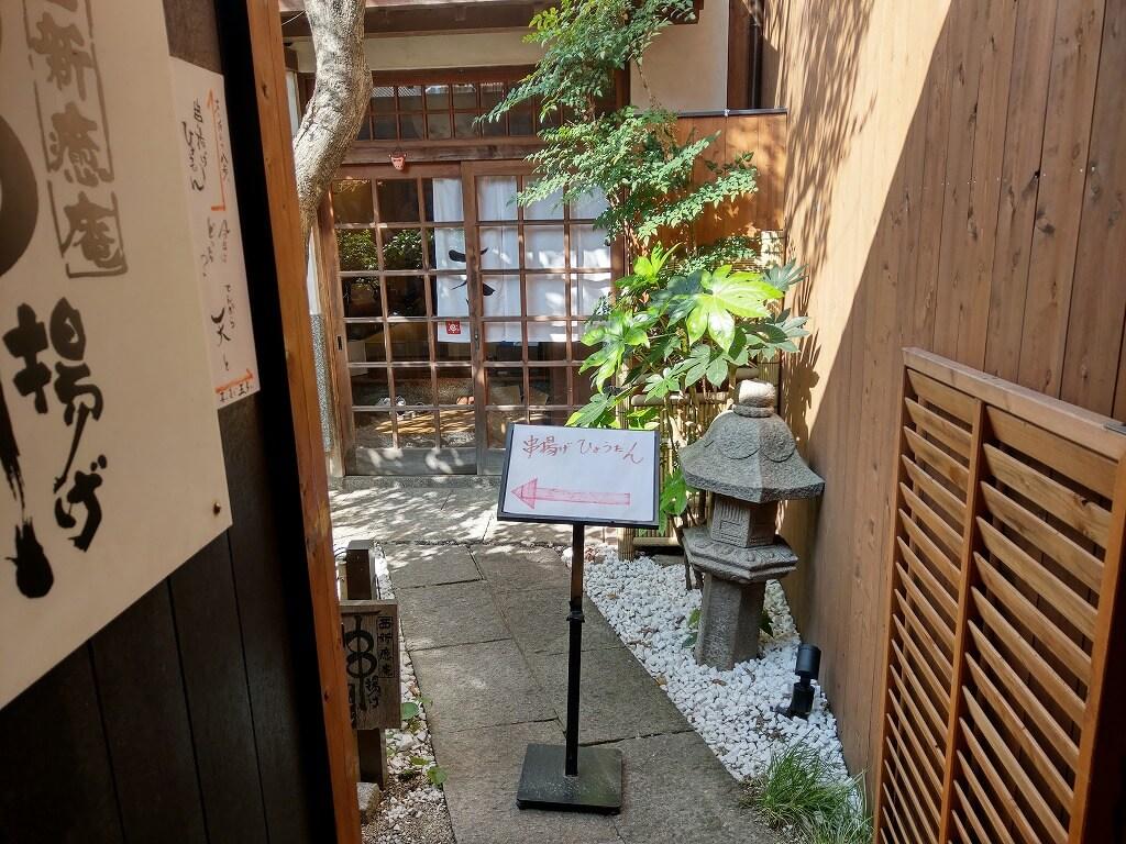 福岡西新 串揚げひょうたん 細い小路出口