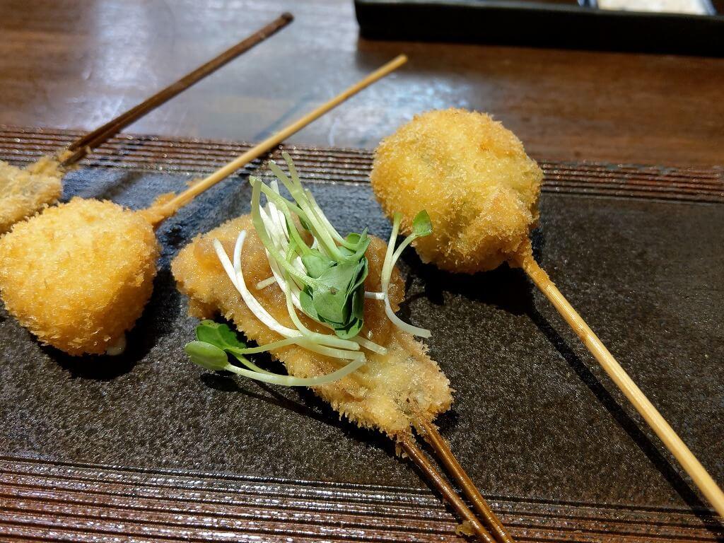 福岡西新 串揚げひょうたん 特撰ランチ 秋刀魚のおろしポン酢かいわれ添え