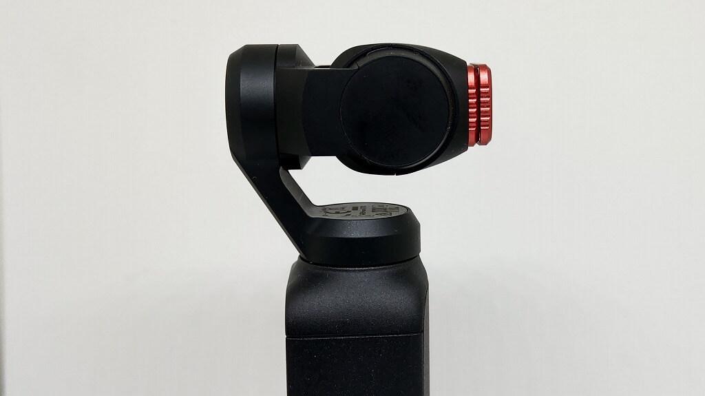 DJI Osmo PocketにNDフィルターを2枚重ねで取り付け 横から