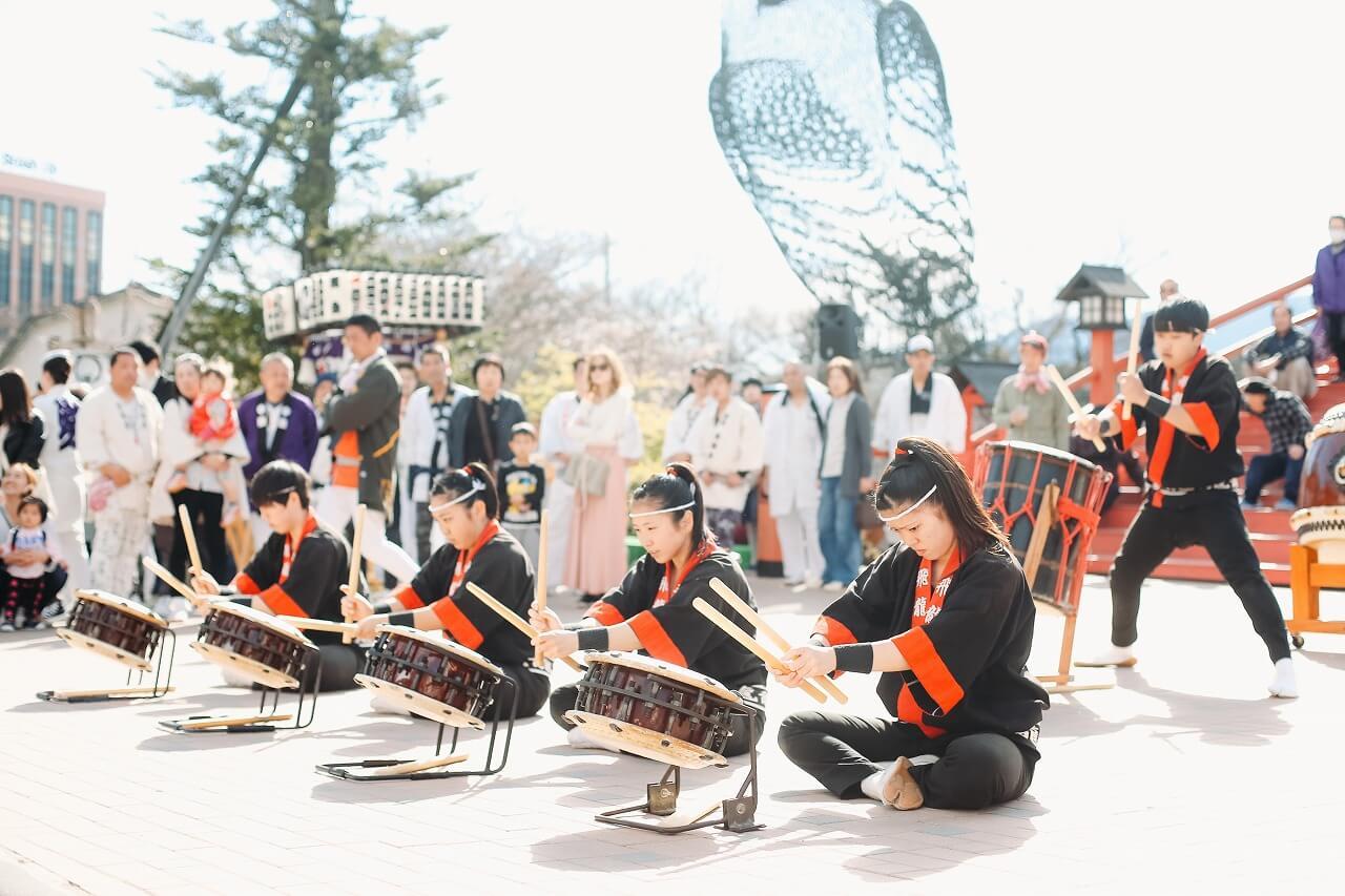 御殿場高原時之栖桜まつり 飛龍高校 太鼓演奏