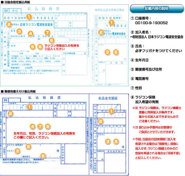 ラジコン保険加入の記入例