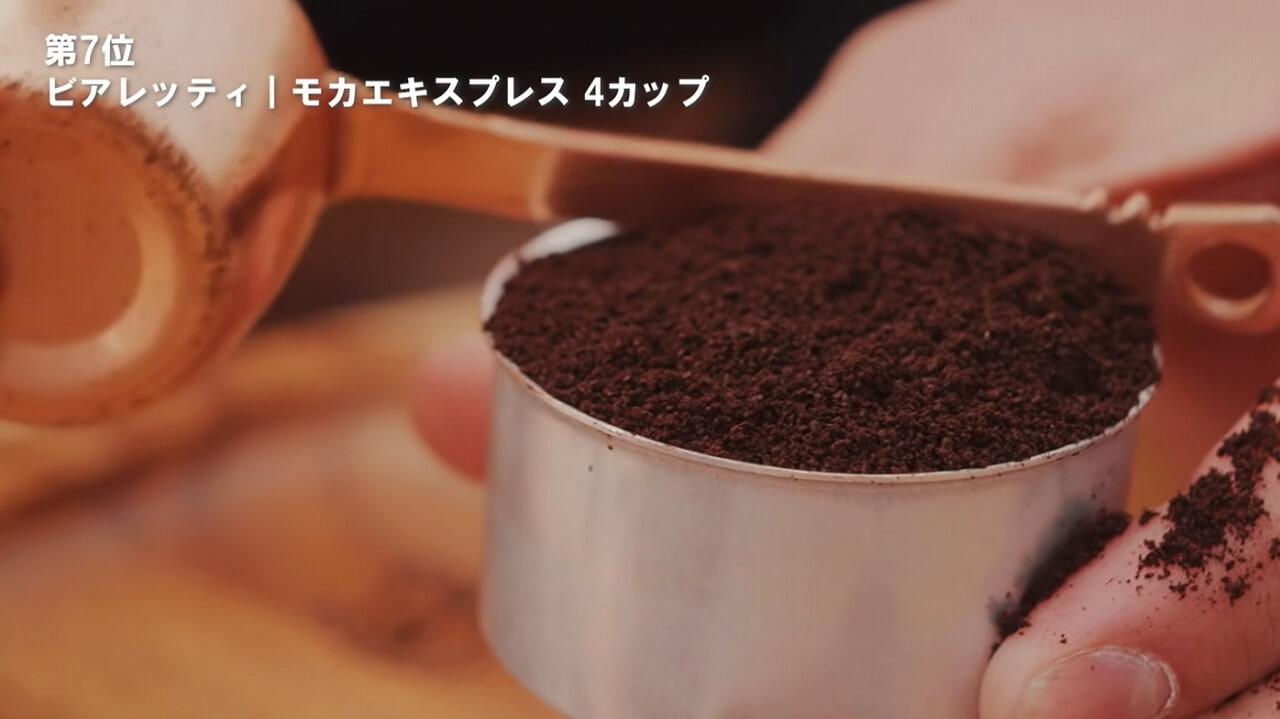 BIALETTI 直火式 モカエキスプレスのバスケットにコーヒー粉をすり切りで入れる