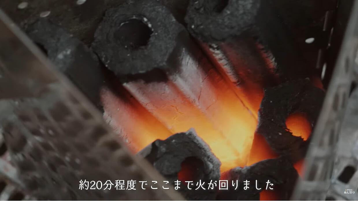 チャコスタで火起こしした炭
