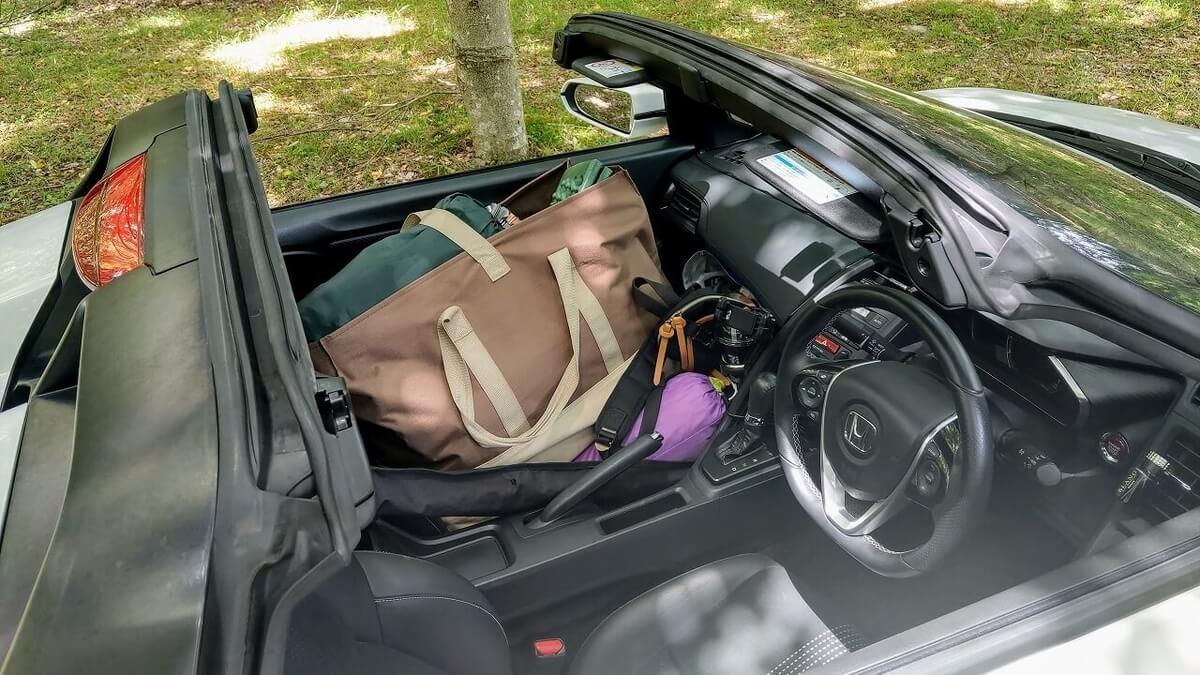 S660の助手席に積んだキャンプギア