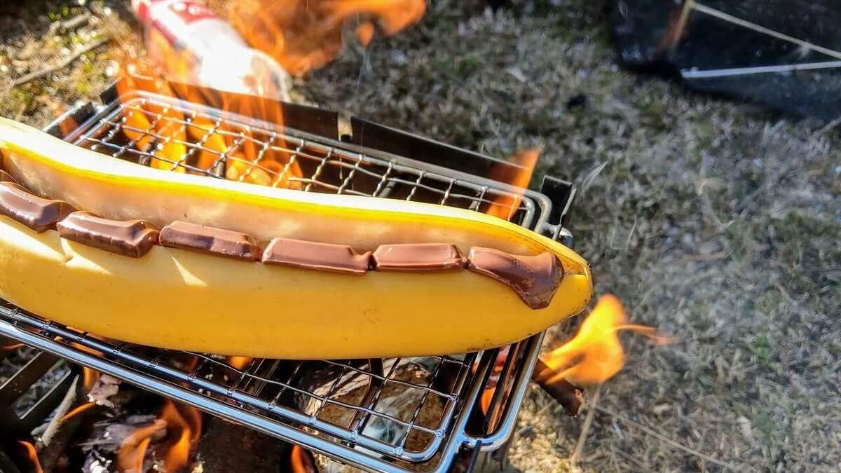 キャプテンスタッグ スマートグリル B6型で焼きチョコバナナ作り