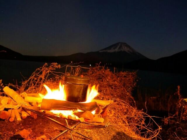 富士と焚き火