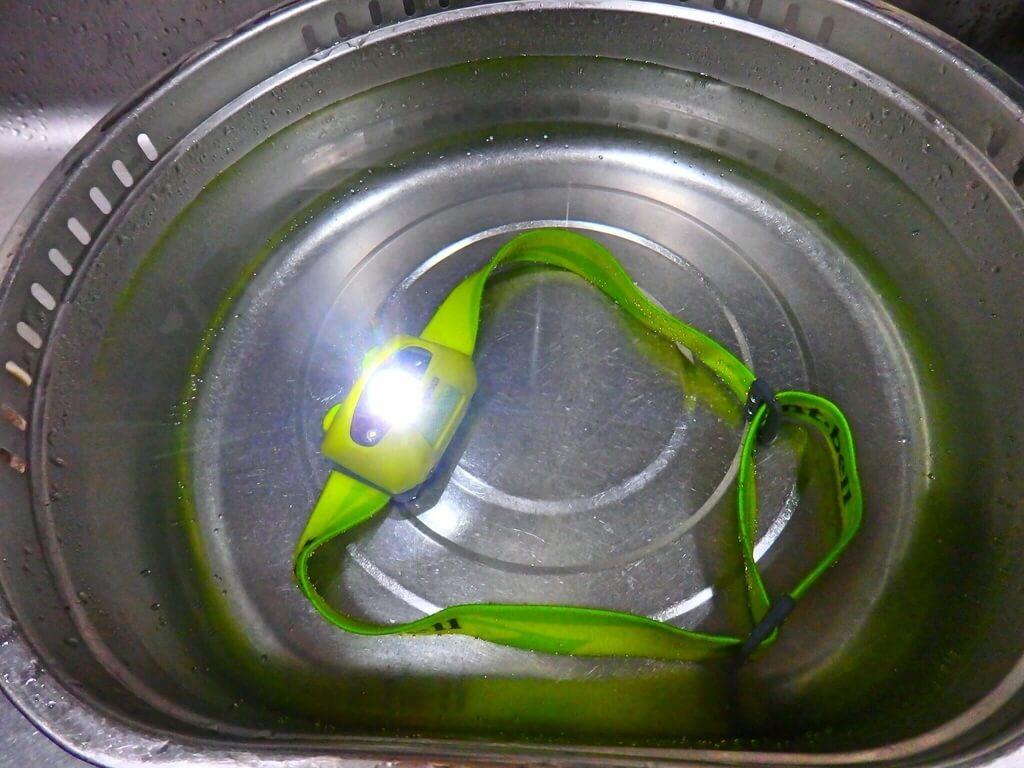 パワーヘッドランプ 耐水実験