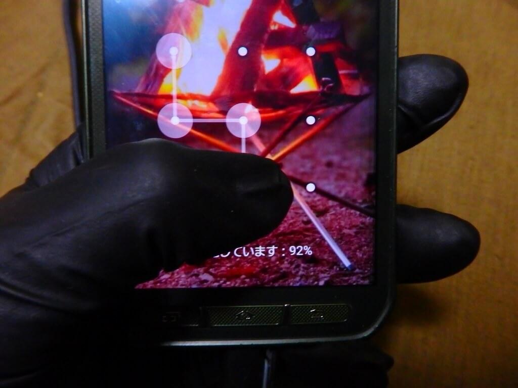 ニトリルグローブを装着したままスマートフォンを操作可能