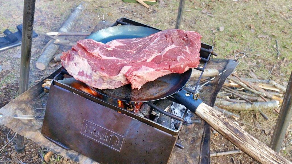 たき火フライパン 極厚ステーキ