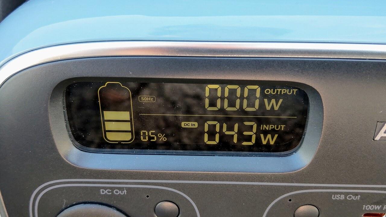 AUKEY PowerStudioをソーラーパネルで充電した最大電力