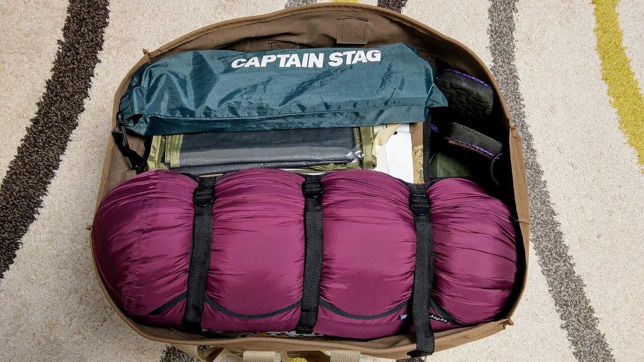 oxtos NEW透湿防水コンプレッションバッグに入れたYOGOTO シュラフをキャプテンスタッグのトートバッグに収納