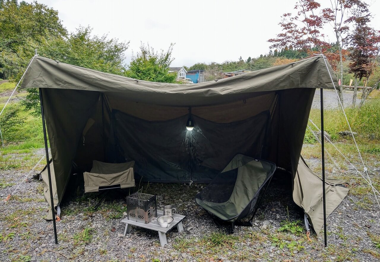 BUNDOK ソロベースEXを中心にミリタリーカラーで統一したロースタイルキャンプ