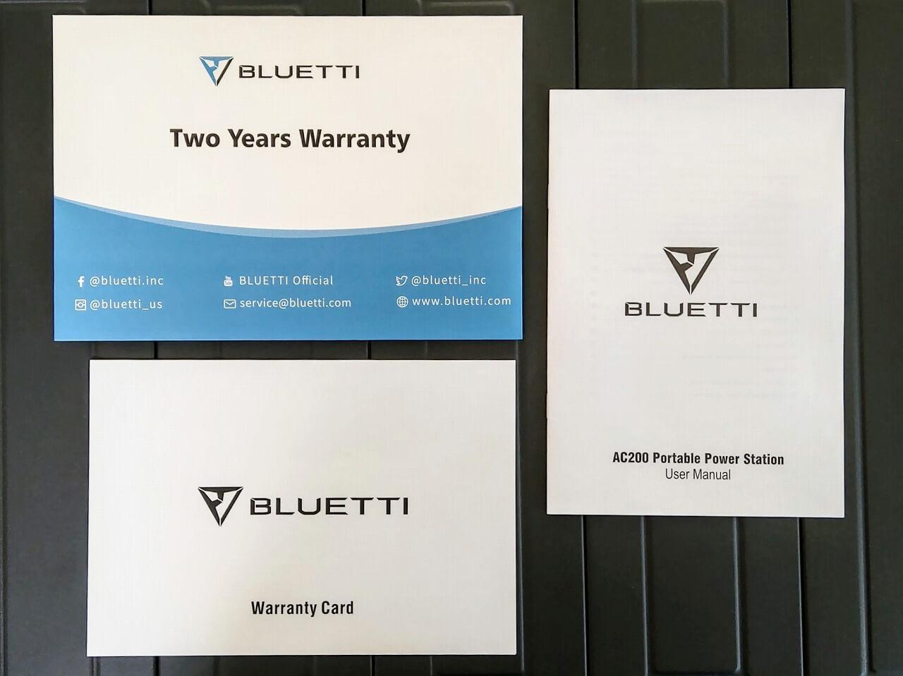 BLUETTI ポータブル電源 AC200Pの保証書と取扱説明書