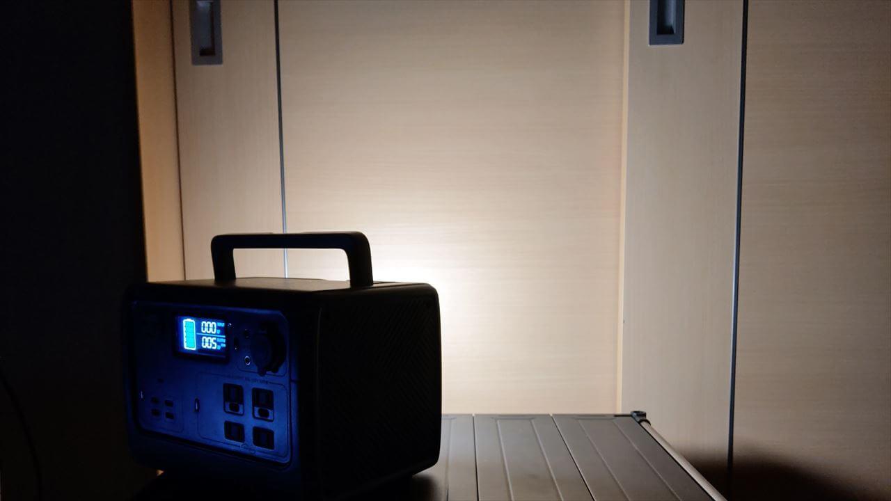 BLUETTI ポータブル電源 EB55 背面 LEDライトを点灯
