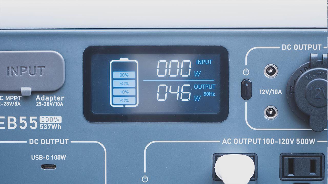 BLUETTI ポータブル電源 EB55で電気毛布を使用中の消費電力