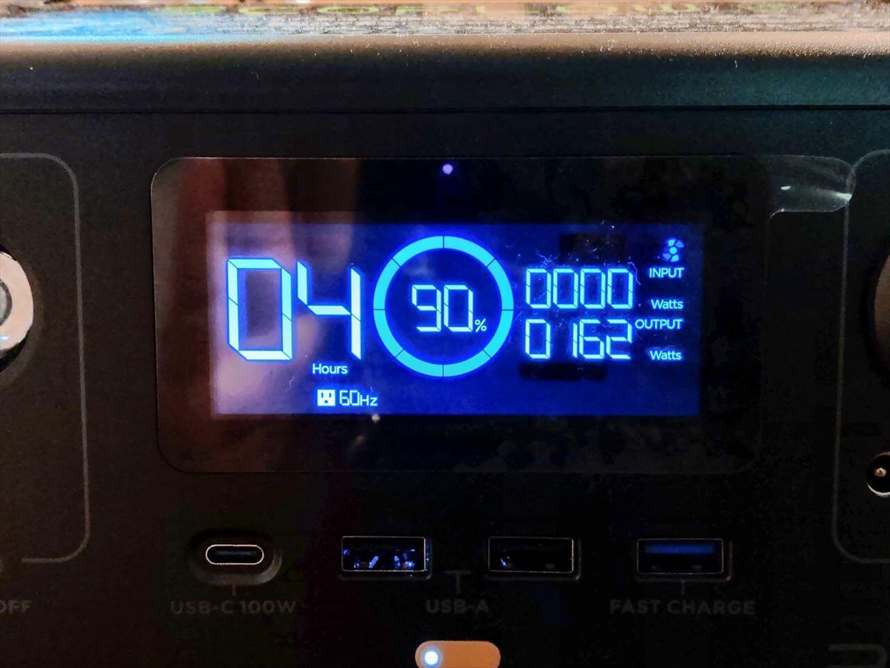 EcoFlow RIVER Pro ポータブル電源にプロジェクターを接続した時の消費電力